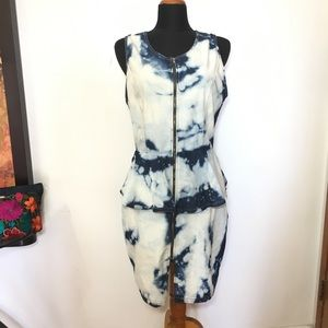 Miss California Dress 2XL peplum denim acid wash